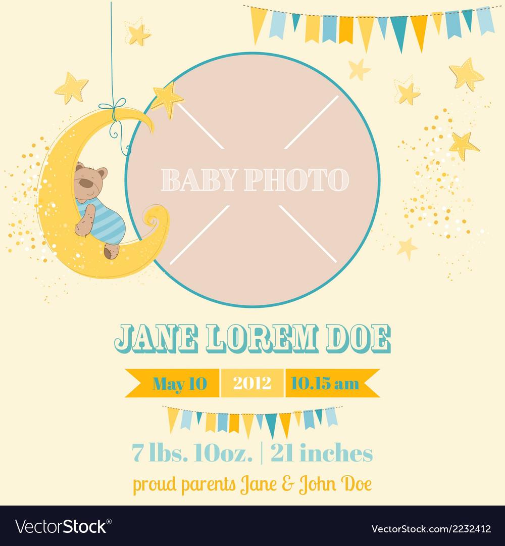Baby Arrival Card - Sleeping Bear Theme vector image