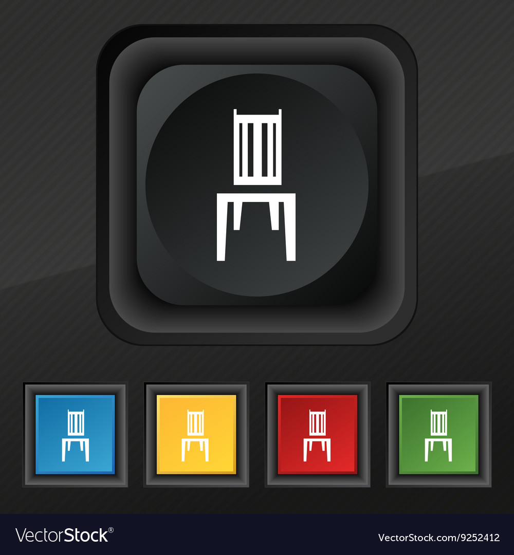 Chair icon symbol Set of five colorful stylish vector image