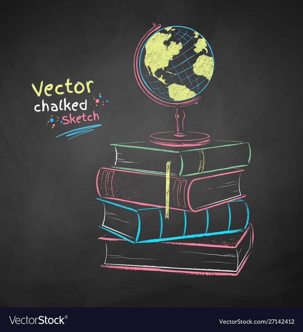 Chalked books and globe