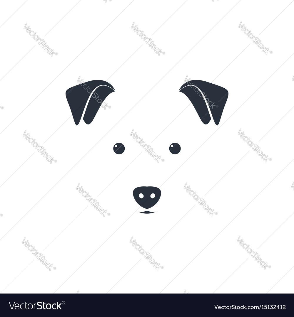 Cute dog head on white background minimal iconic vector image