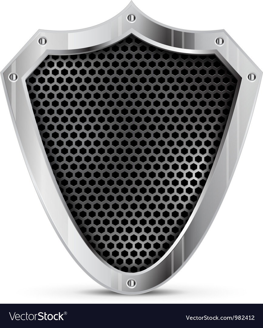 Detailed metal shield vector image