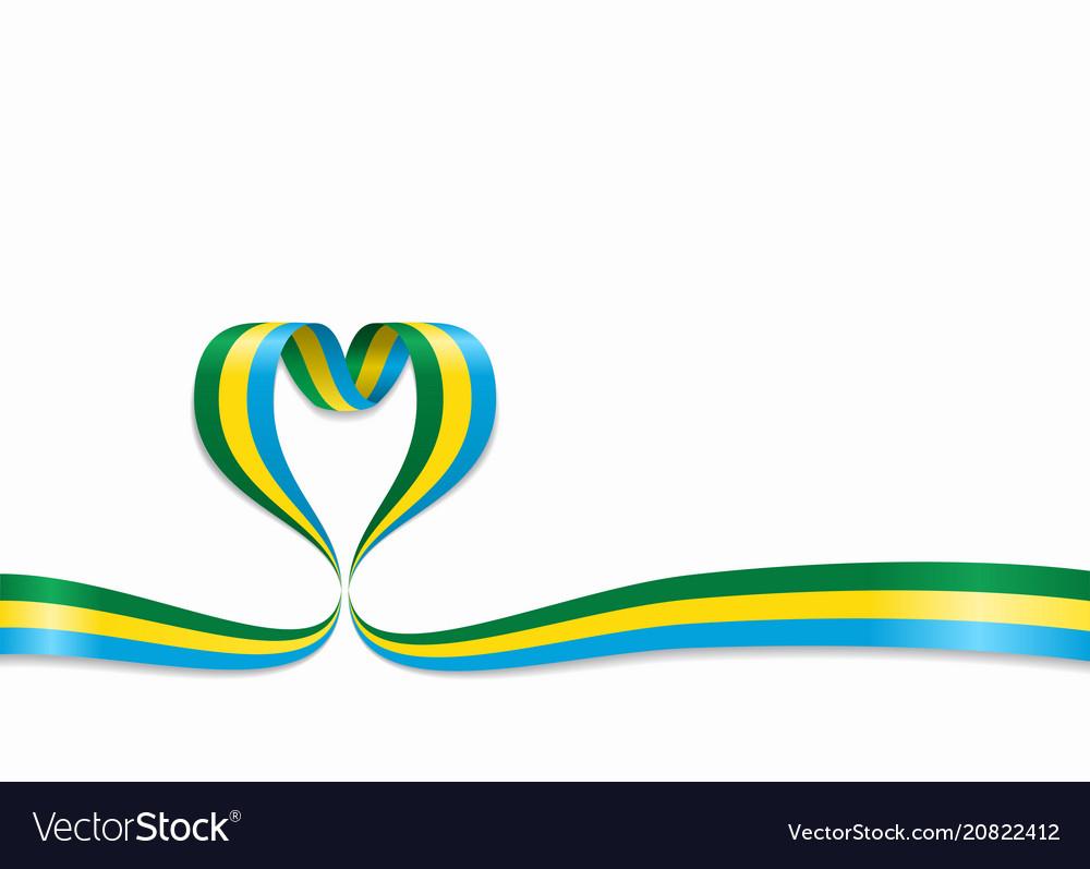 Gabon flag heart-shaped ribbon