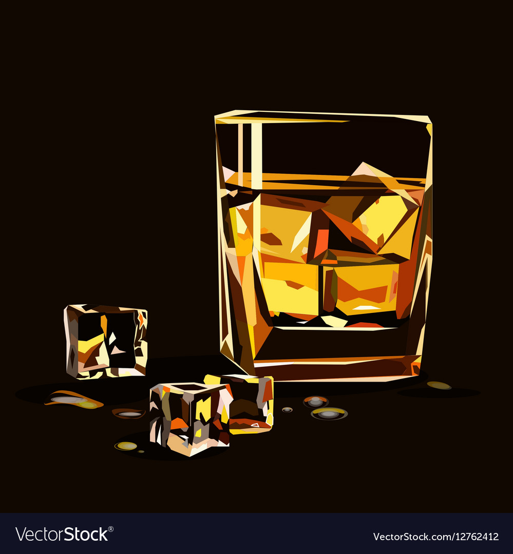 Glass of whiskey isolated with ice cubes