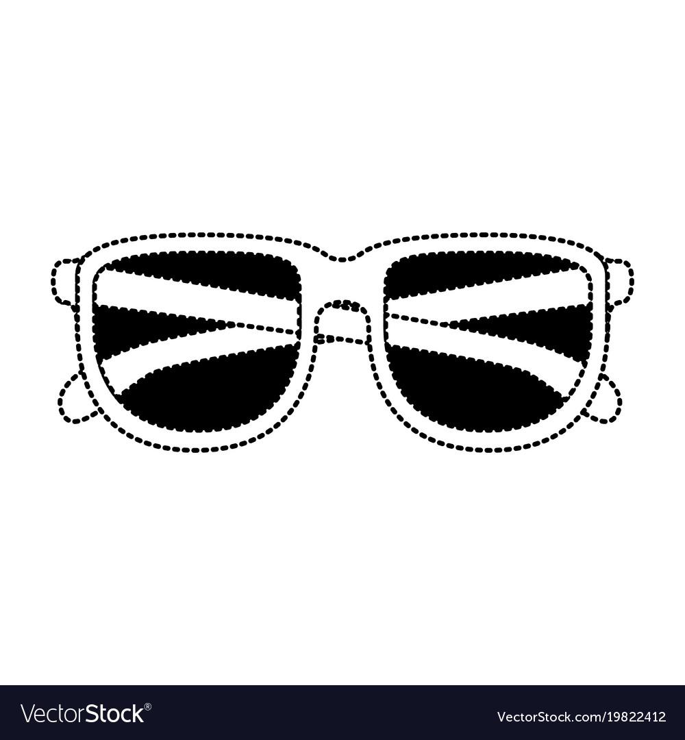 Glasses icon in black dotted contour