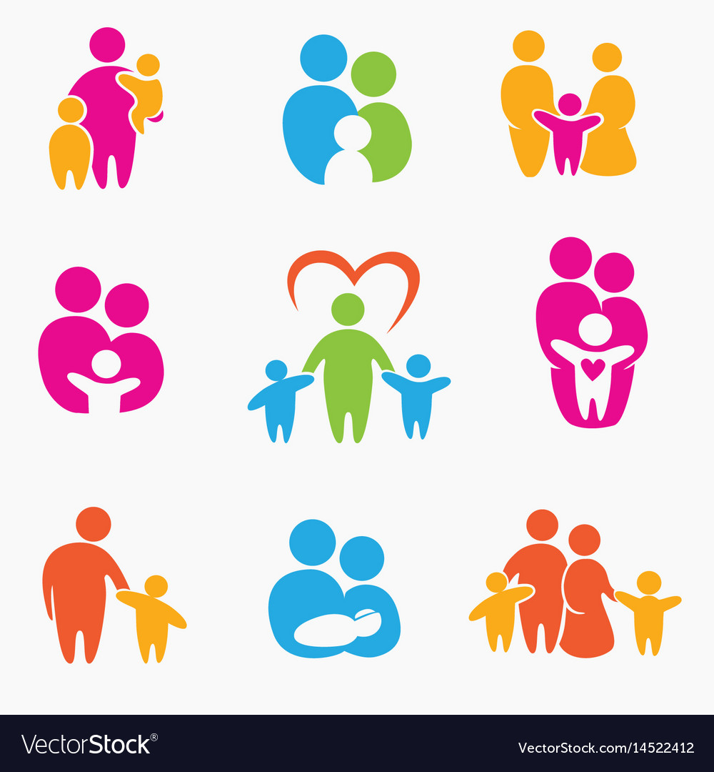 Happy family icons symbols collection