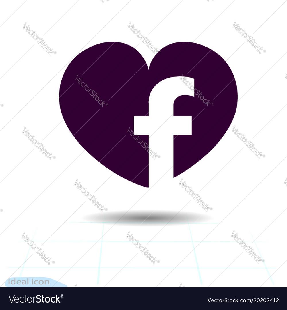 Heart Black Icon Love Symbol Social Facebook Vector Image