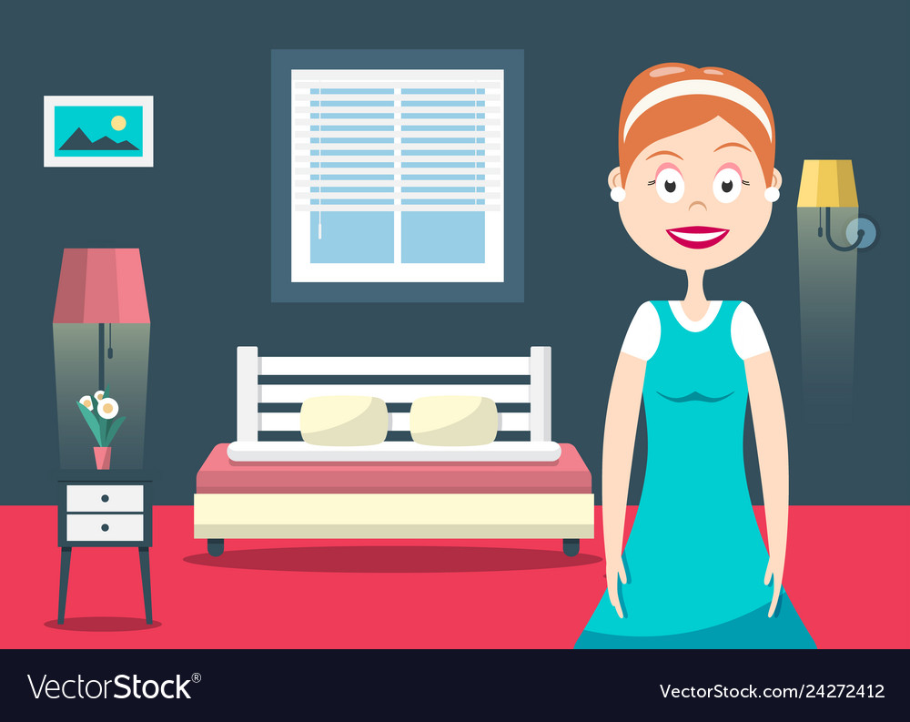 Household woman in hotel room flat design