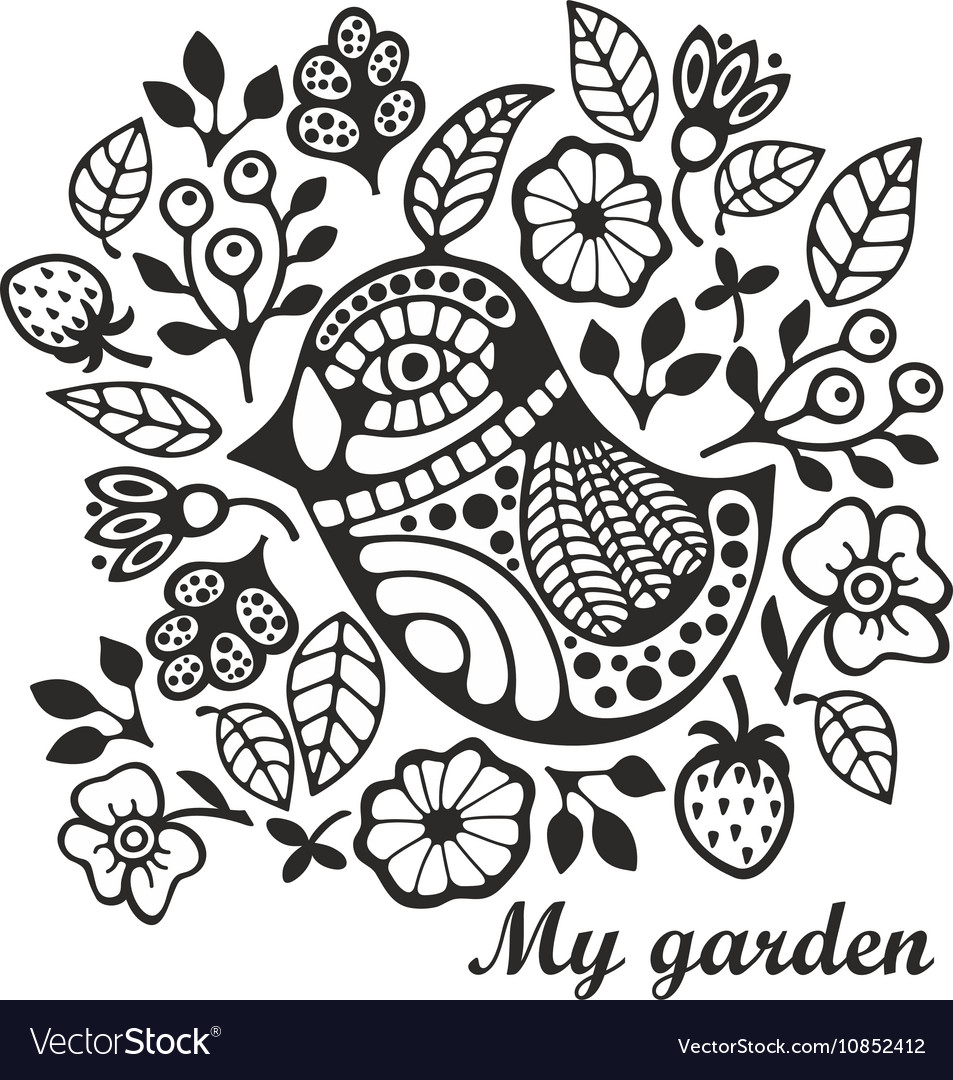 Page for coloring with bird and flowers