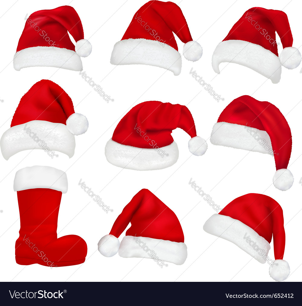Red santa hats and boot