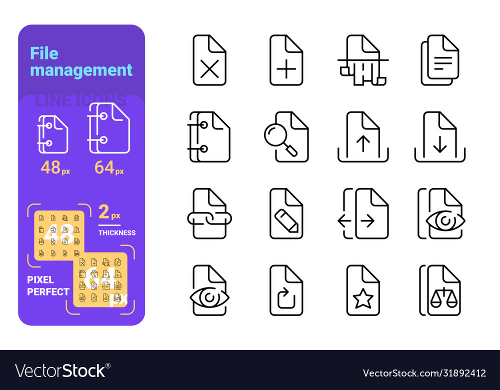 Set file management simple lines icons paper