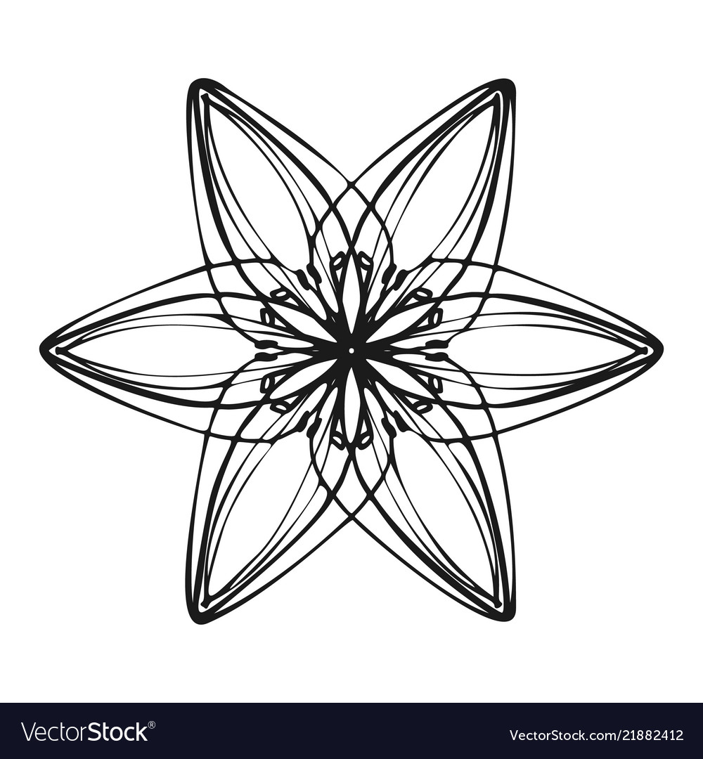 Six Petal Flower Icon Simple Style Royalty Free Vector Image