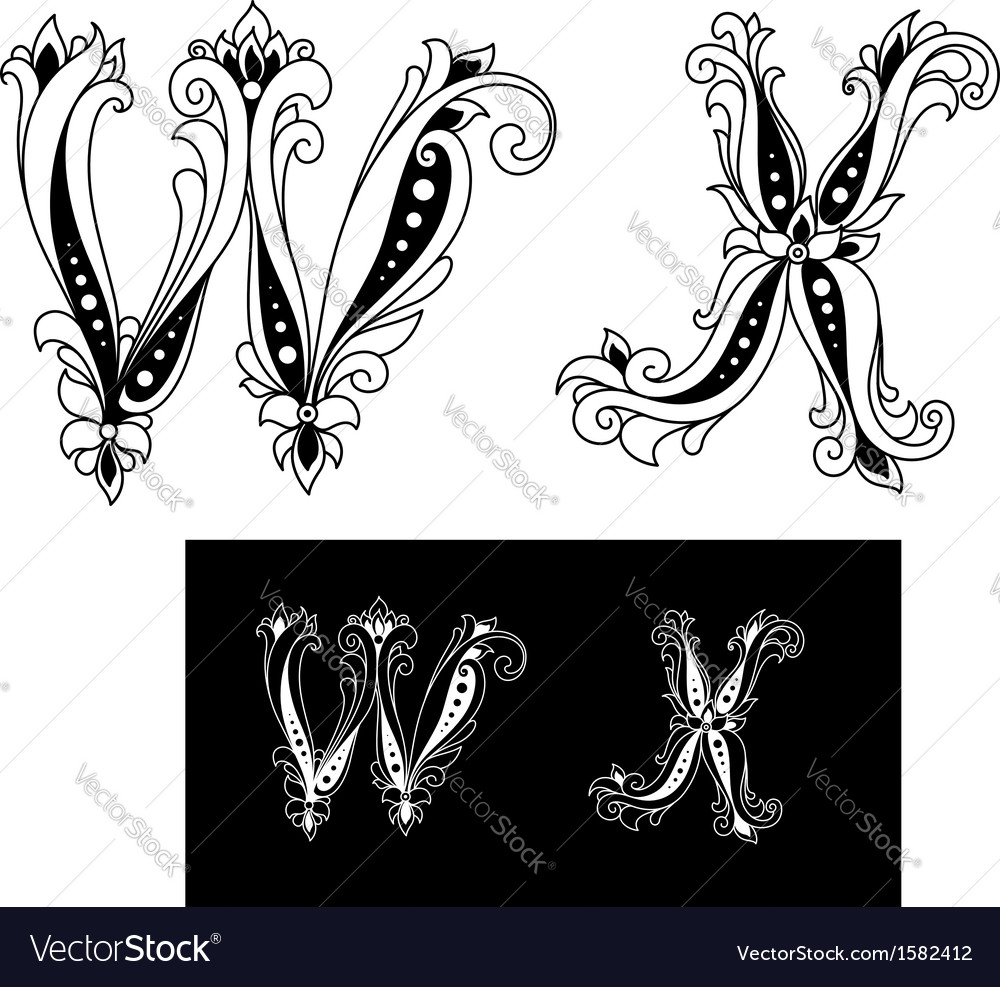 Title retro letters W and X