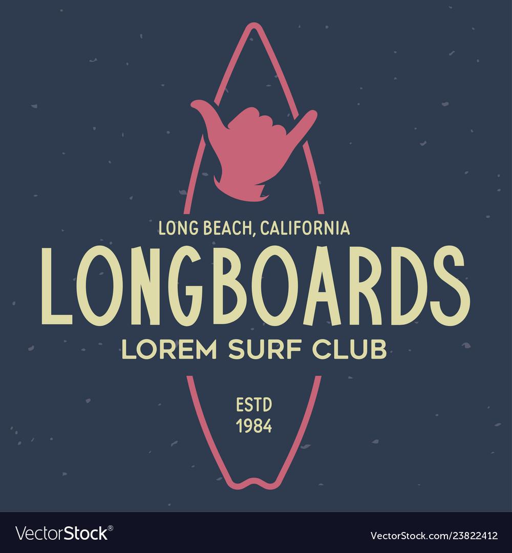 Vintage surfing emblem for web design or print