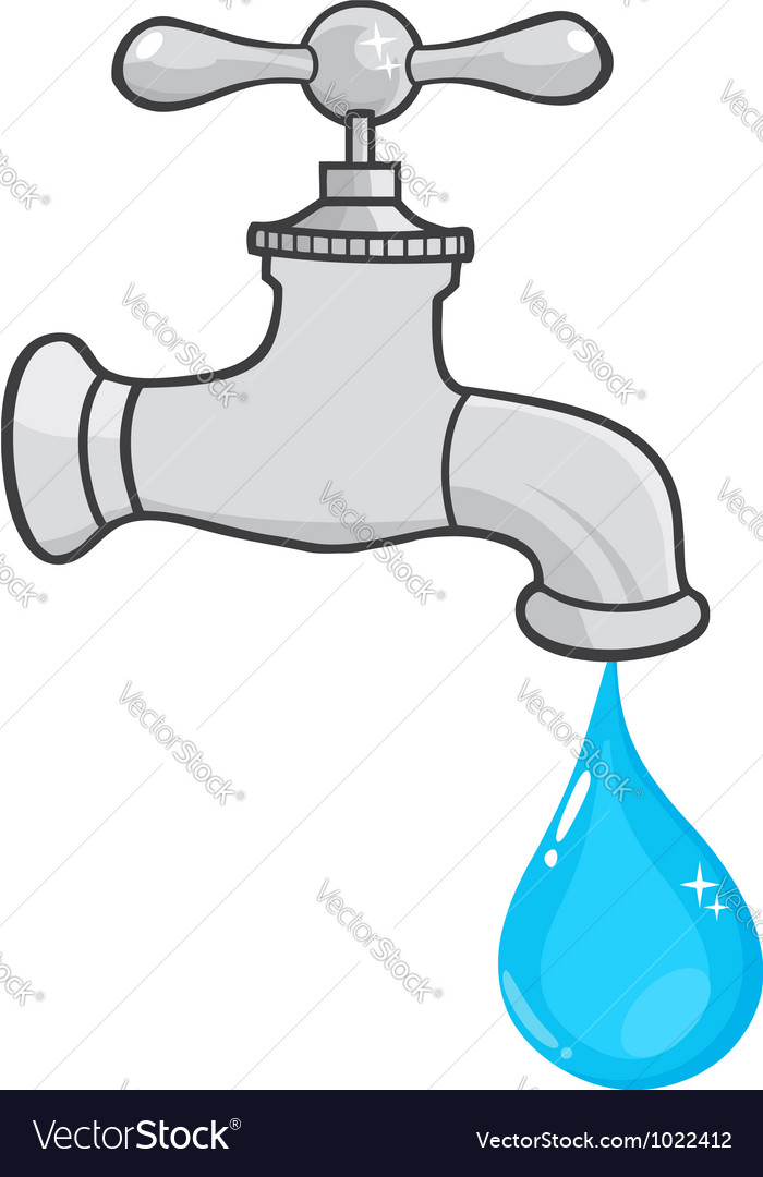 Water Faucet With Water Drop Royalty Free Vector Image
