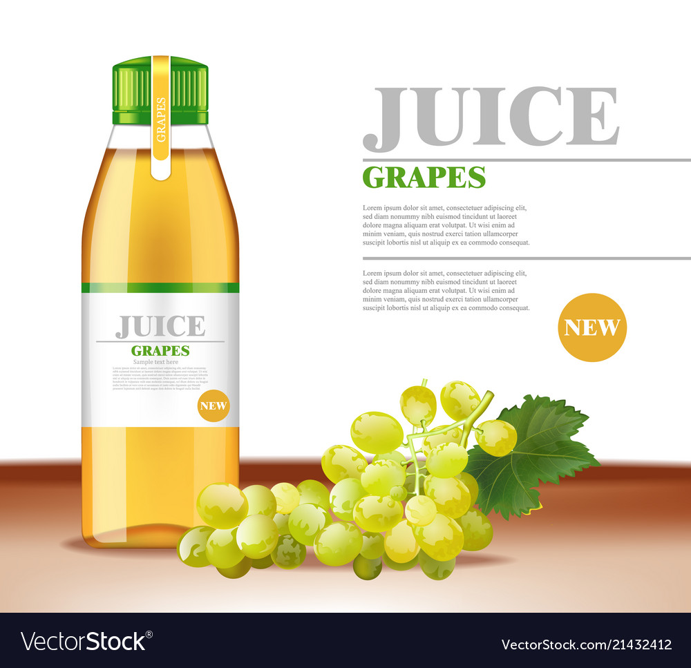 White grapes juice realistic product