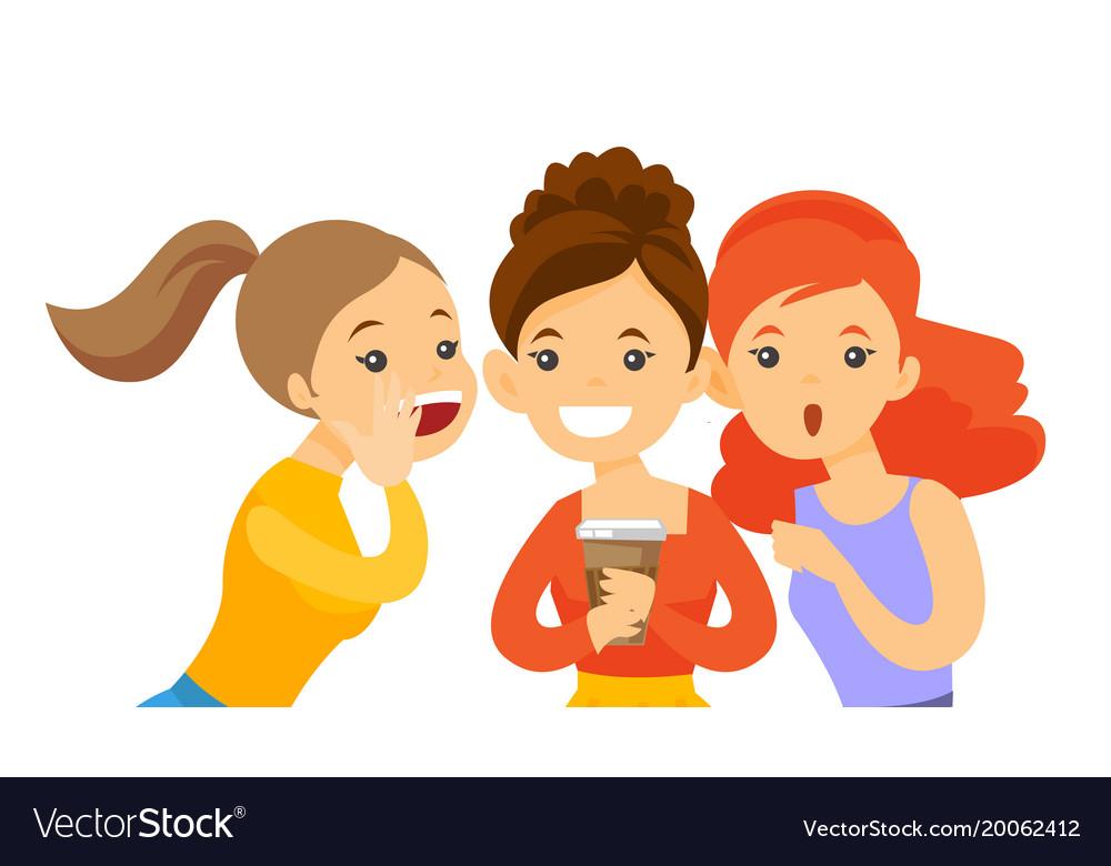 Young caucasian white women sharing gossips vector image
