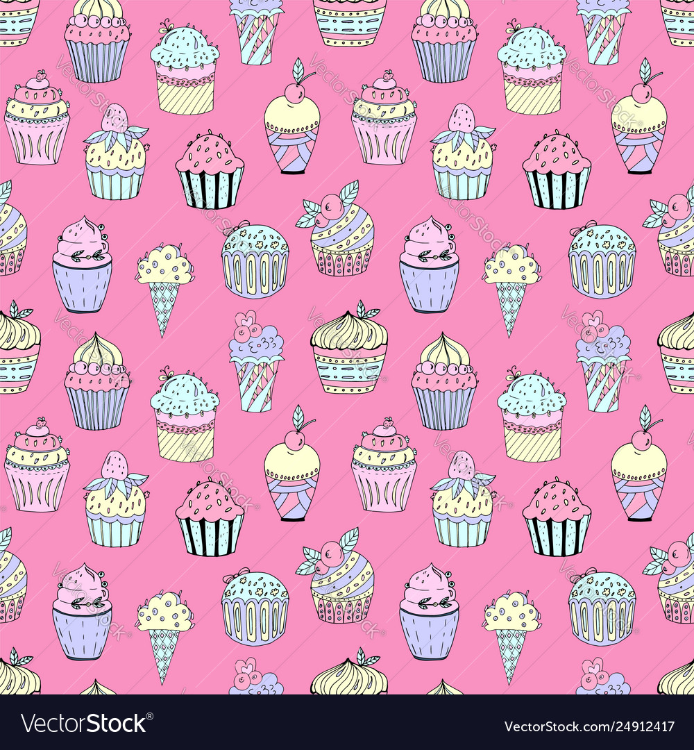 A seamless pattern cakes