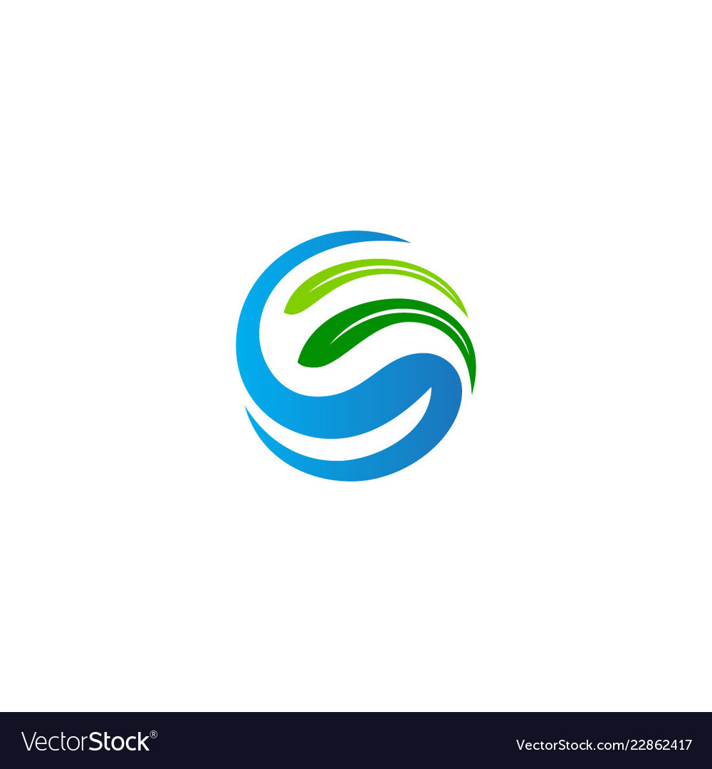 Abstract ecology green leaf bio logo