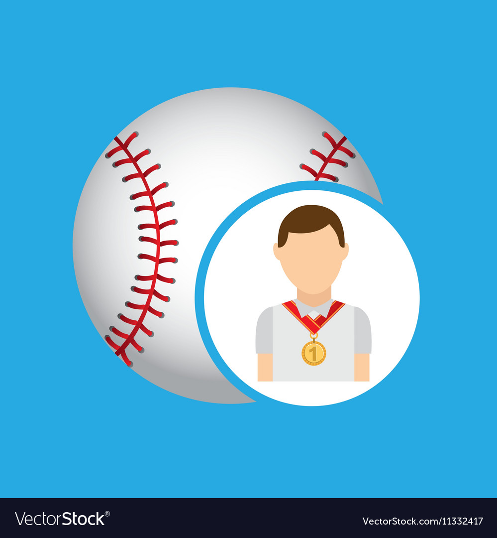 Athlete medal baseball icon graphic