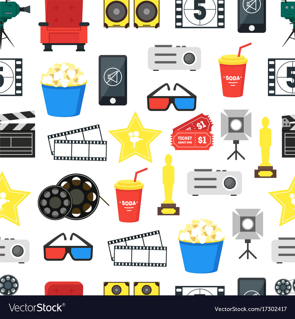 Cartoon cinema color background pattern on a white