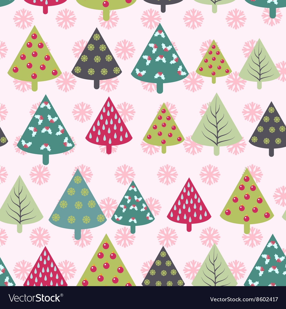 Christmas pattern - Xmas trees and snowflakes