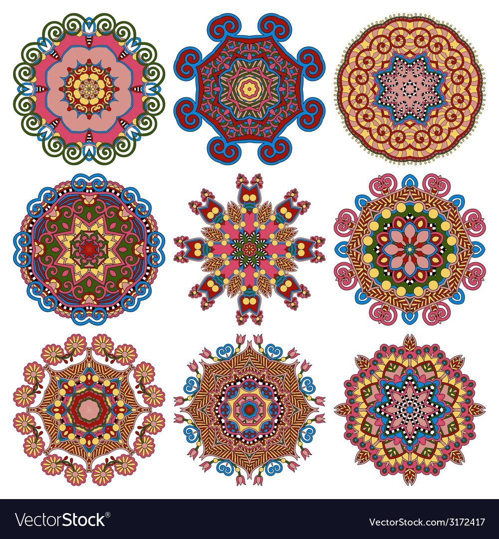 Circle lace ornament round geometric doily pattern vector image
