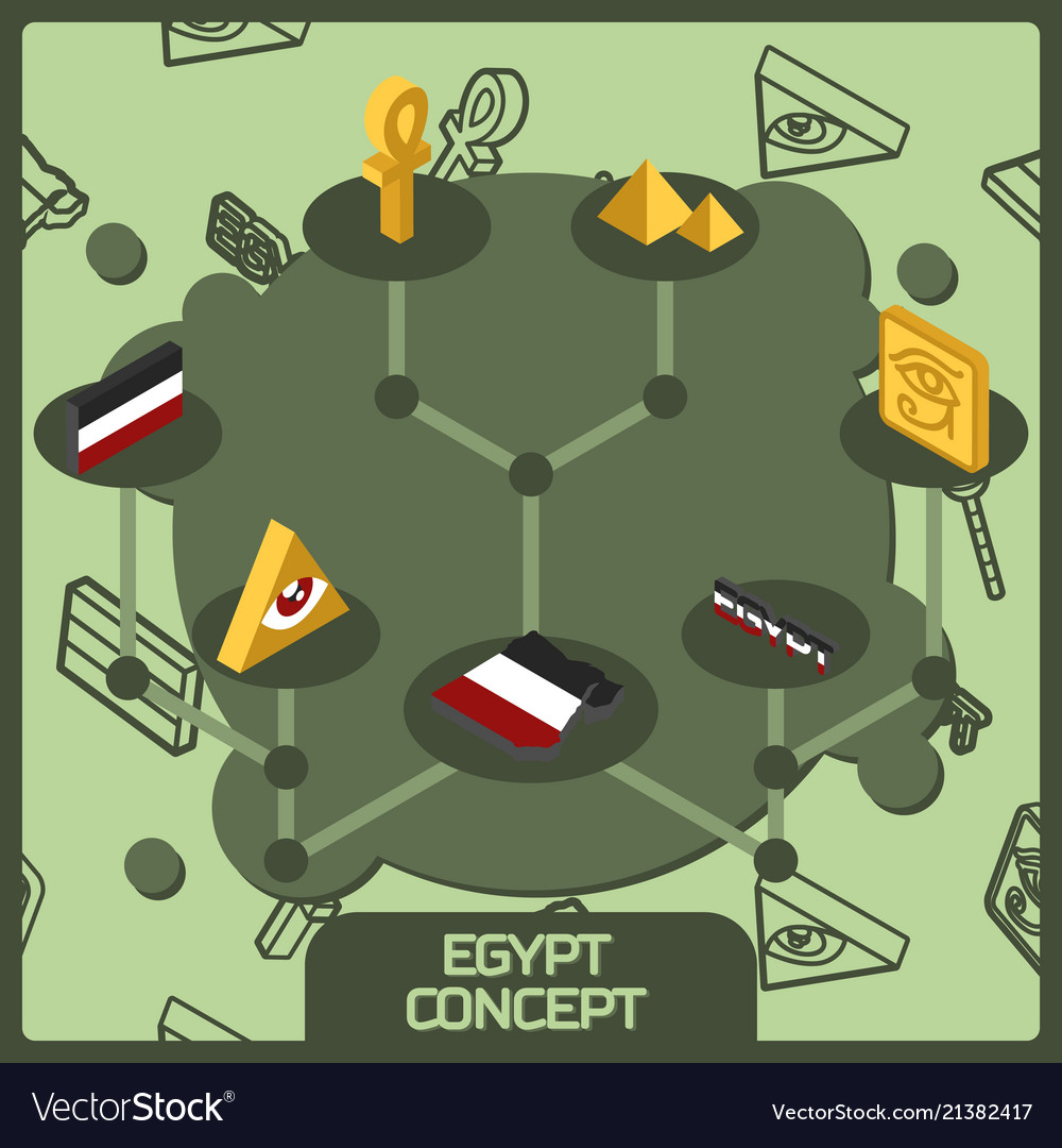 Egypt color concept isometric icons