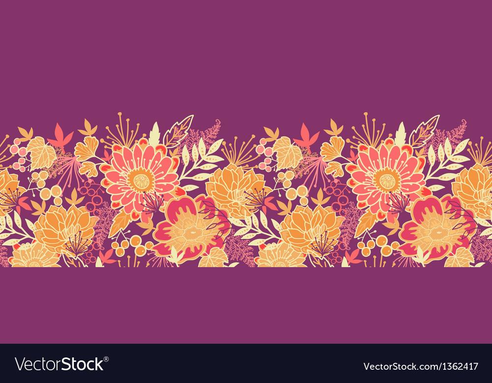 Fall flowers and leaves horizontal seamless