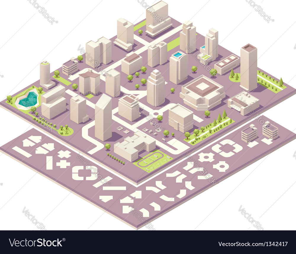 Isometric city map creation kit vector image