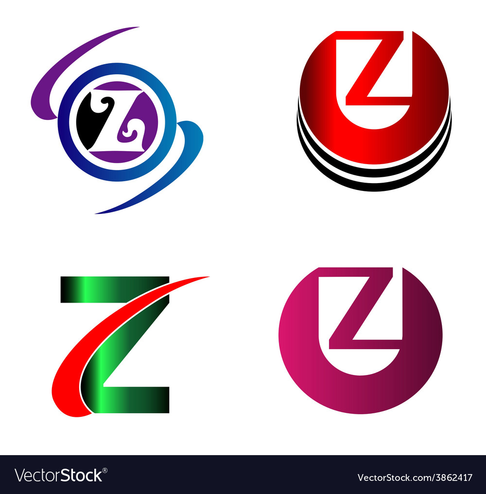 letter z logo icons set graphic design royalty free vector