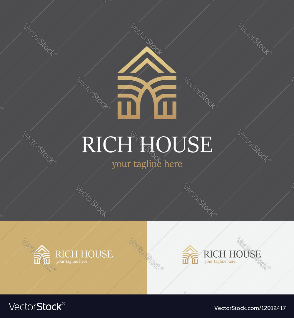 Linear golden house logo vector image