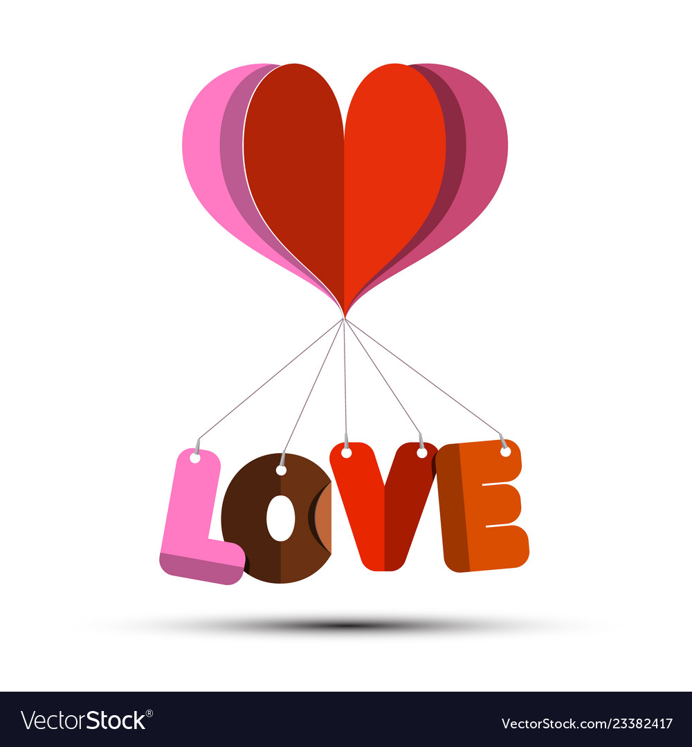 Love symbol with paper cut heart