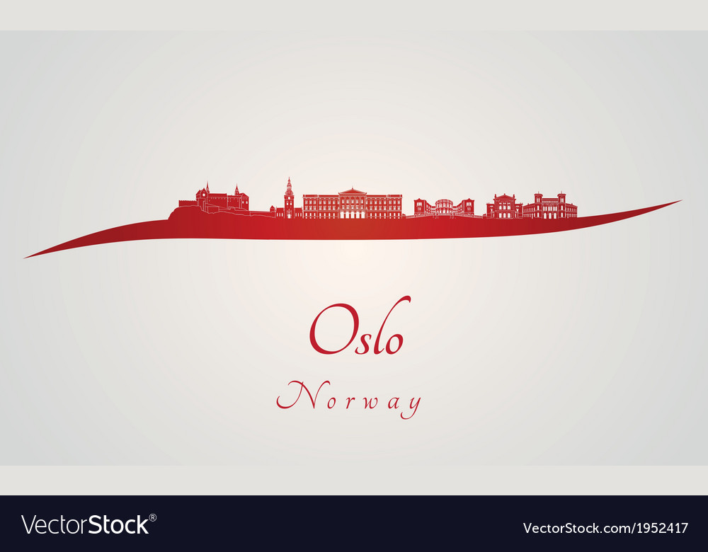 Oslo skyline in red vector image