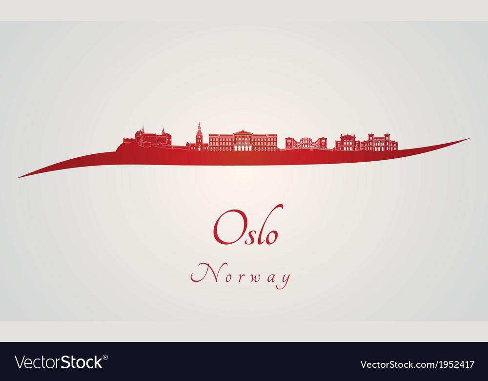 Oslo skyline in red