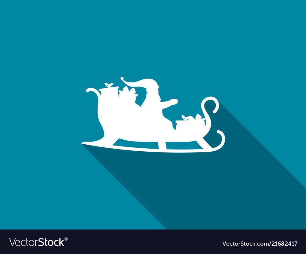 Santa claus in a sleigh with a long shadow