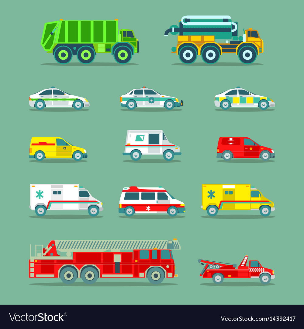 Town municipal special emergency service cars and vector image