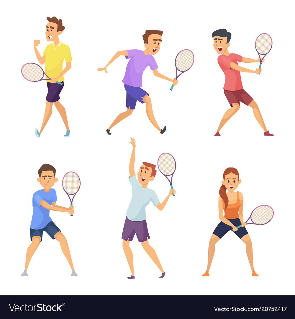 Various tennis players characters in vector
