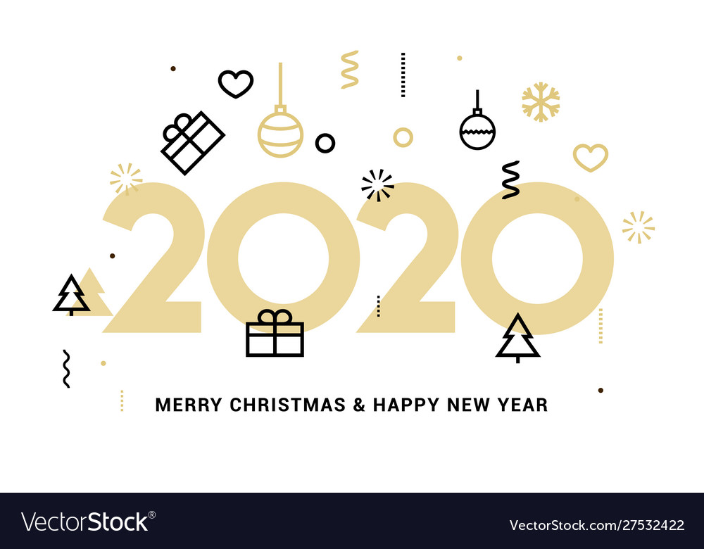 2020 new year design happy logo calendar