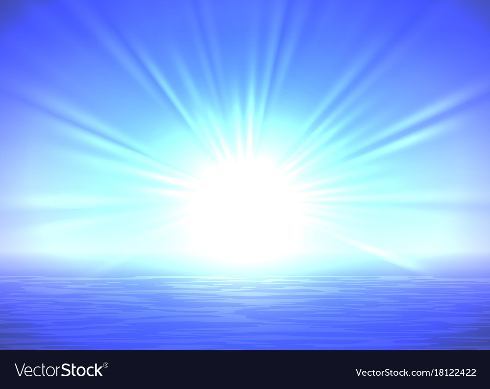 Abstract blue sunrise background Royalty Free Vector Image