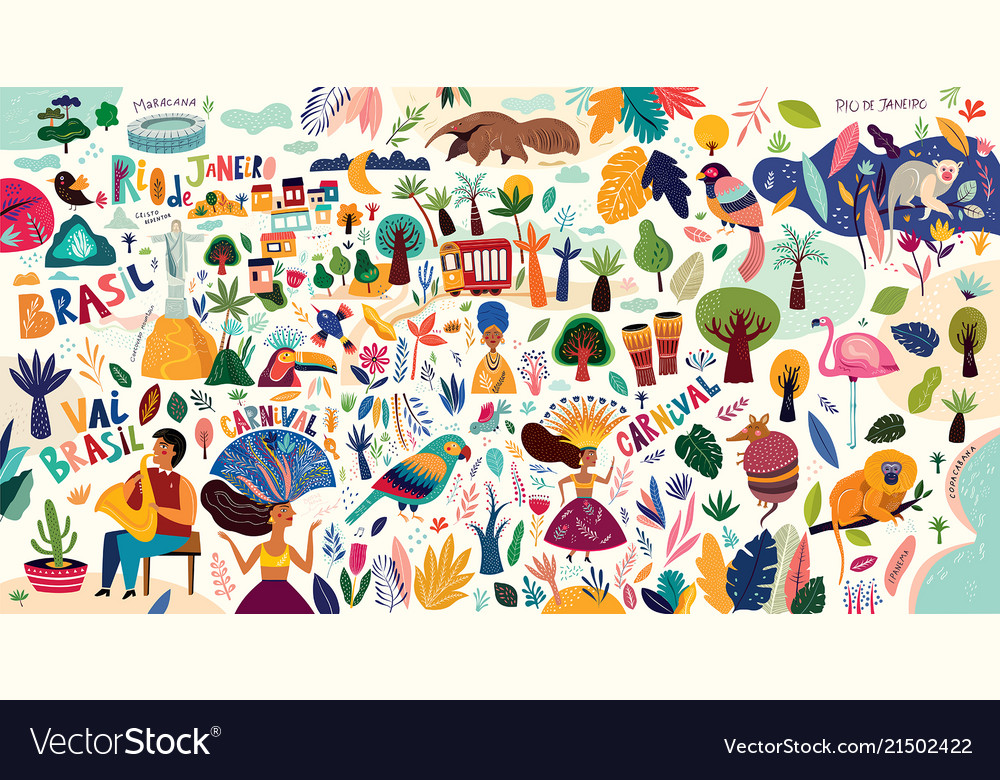 Amazing Collection With Brazilian Symbols Vector Image