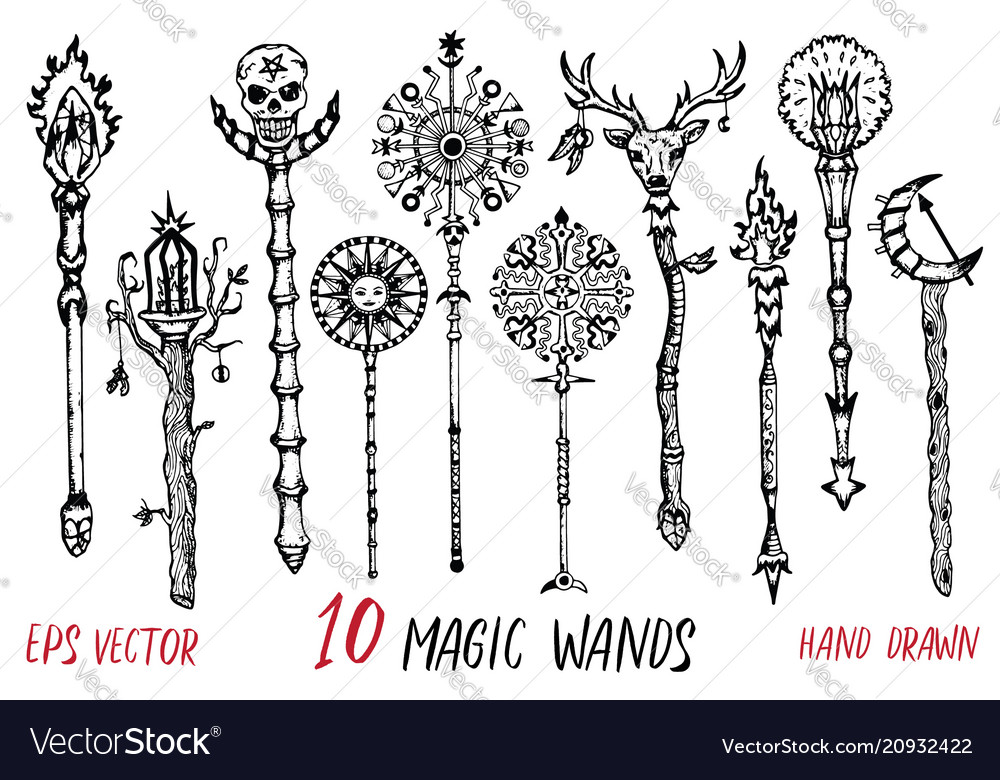Black and white collection with magic wands
