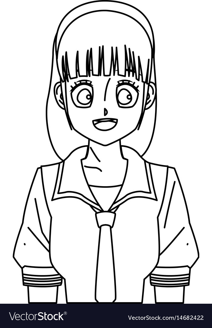 cartoon girl anime character outline royalty free vector