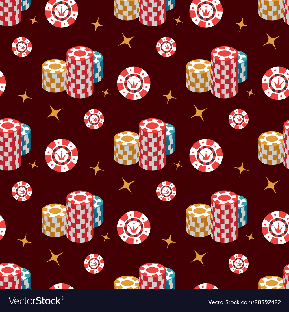 Casino seamless pattern with casino chip and stars vector image