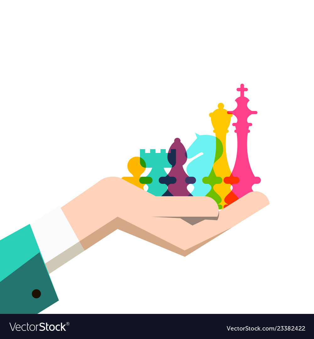 Chess pieces in human hand business strategy
