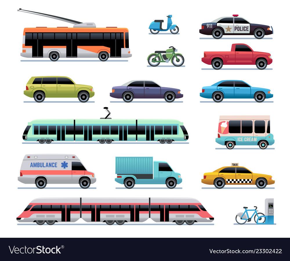 City Transport Cartoon Car Bus And Truck Tram Vector Image