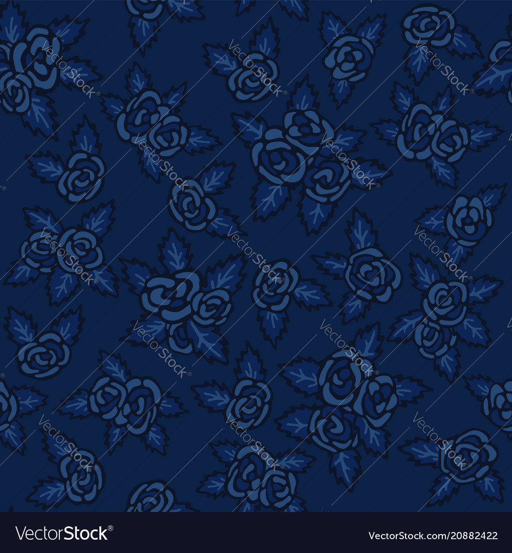 Colorful Seamless Pattern Hand Drawn Navy Blue Vector Image