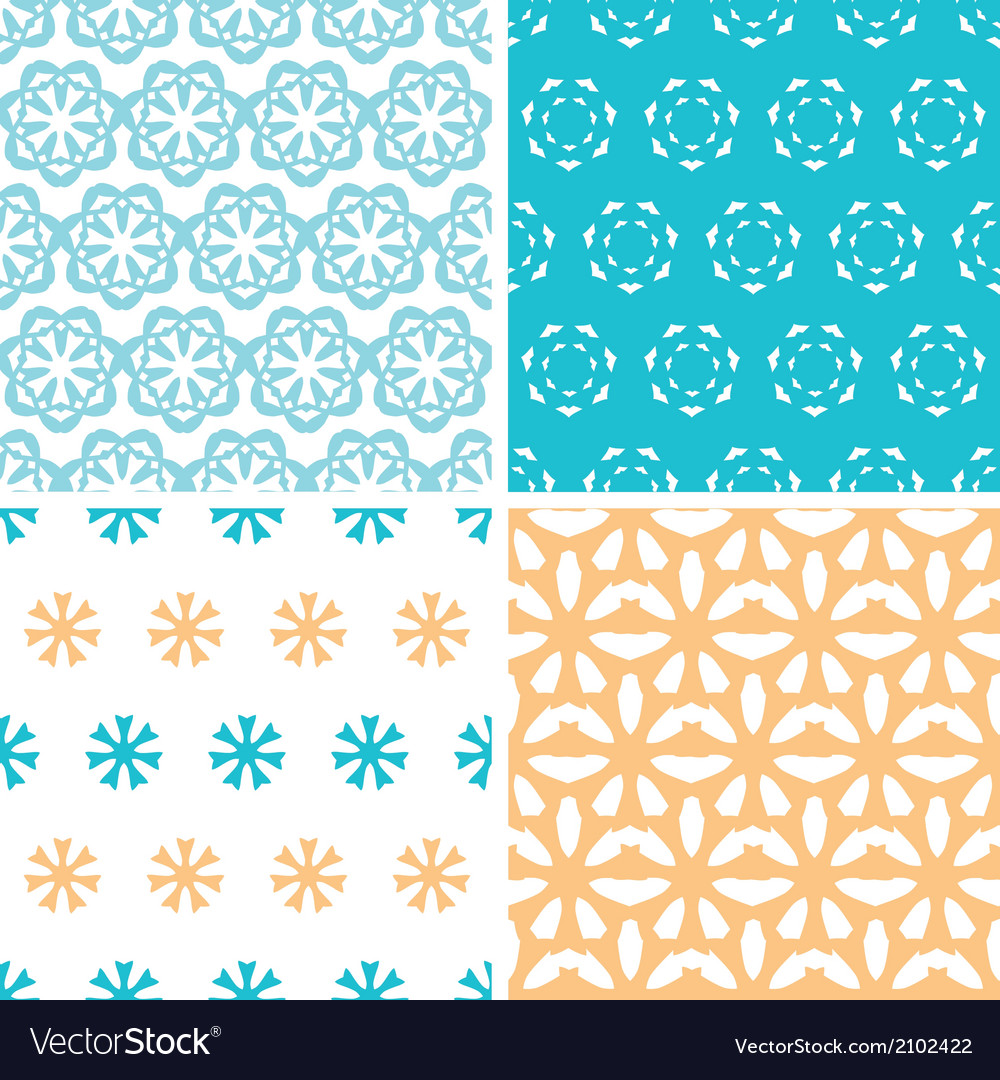 Four abstract blue yellow floral shapes seamless vector image