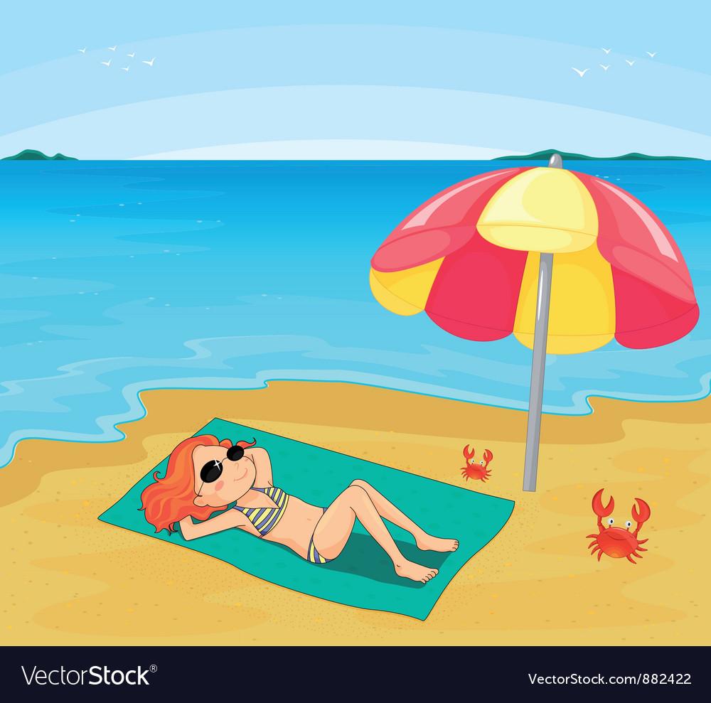 Girl sunbathing vector image