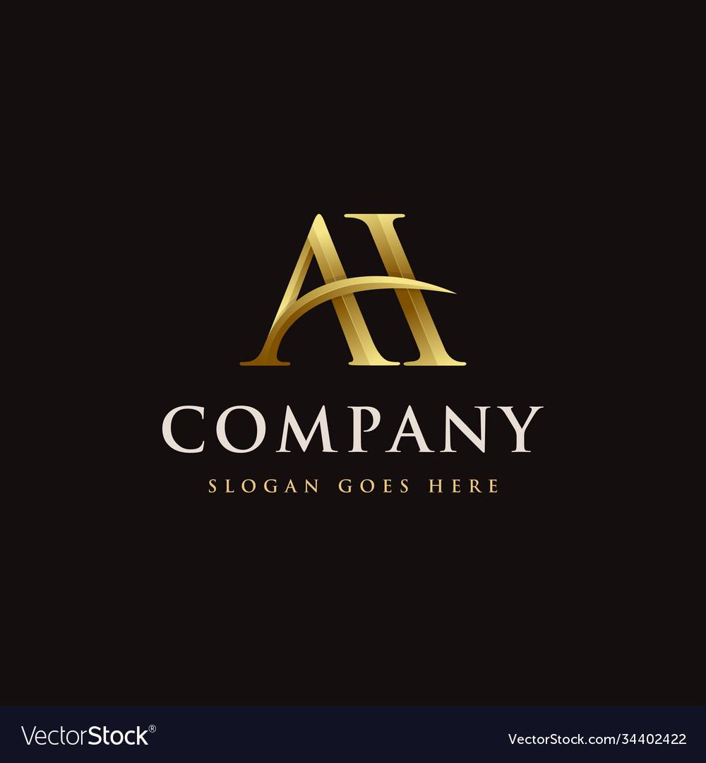 Gold elegant monogram letter ah logo icon