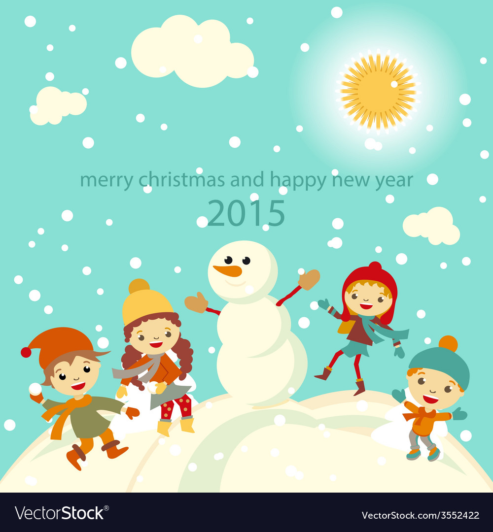 e79070062b01 Happy kids playing with snow retro christmas card Vector Image